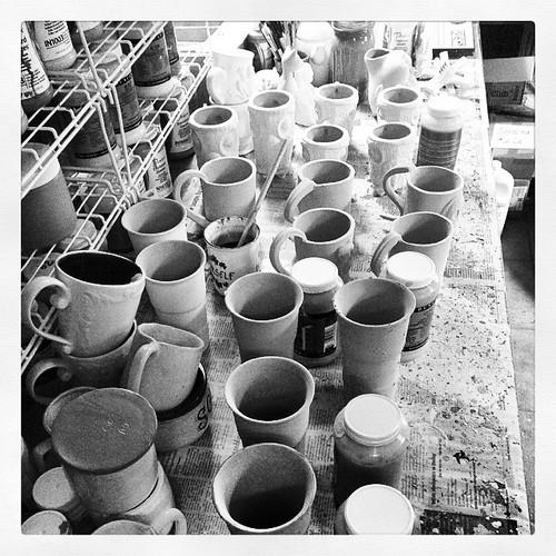 Scenes from a work day #ceramics #mugs #glazing
