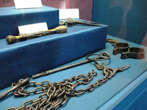 Various shackles and torture devices used on slaves, on display at Uncle Tom's Cabin Historic Site, Chatham-Kent, Ontario.