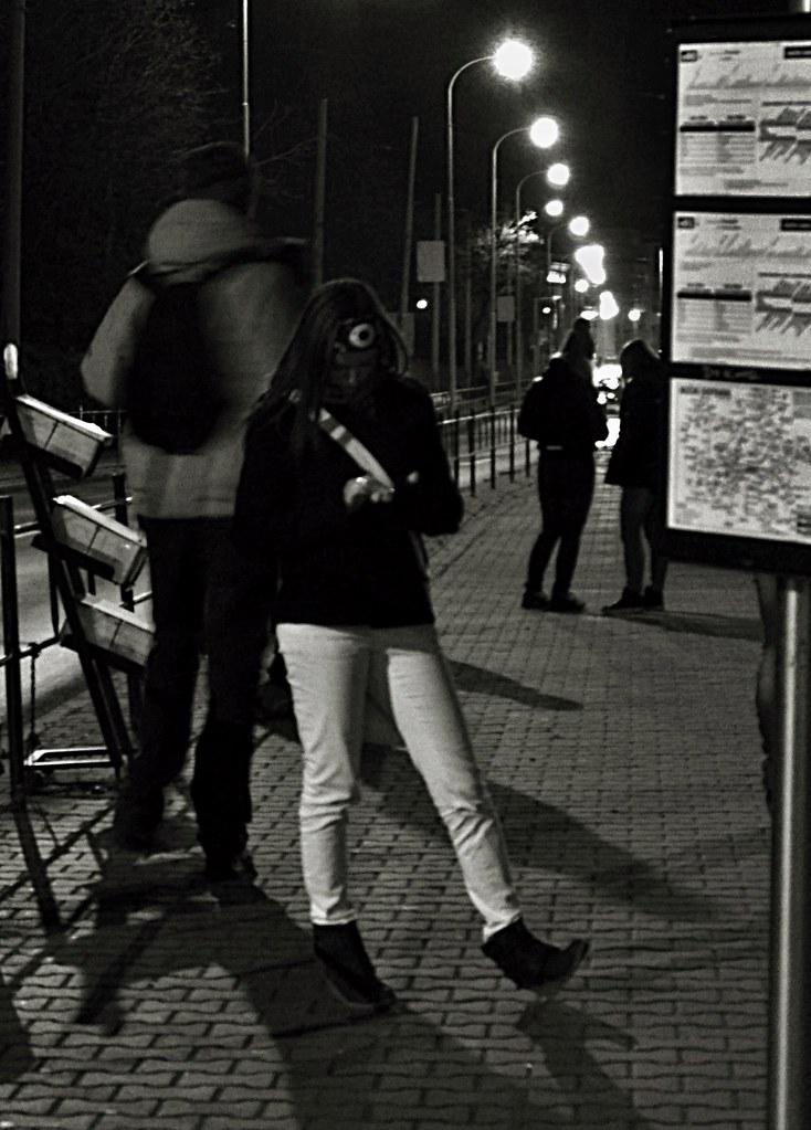 Night Tram Stop Scene