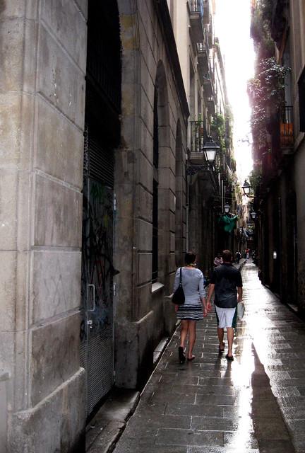 Barcelona, Spain rainy.