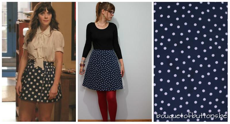 new girl bkue polka dot skirt