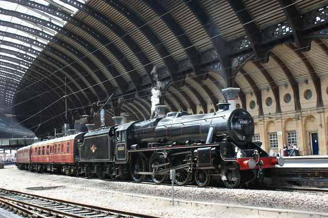 British Railways 45305  arrives into York Platform 5 on the 1Z38 Crewe - Scarborough railtour