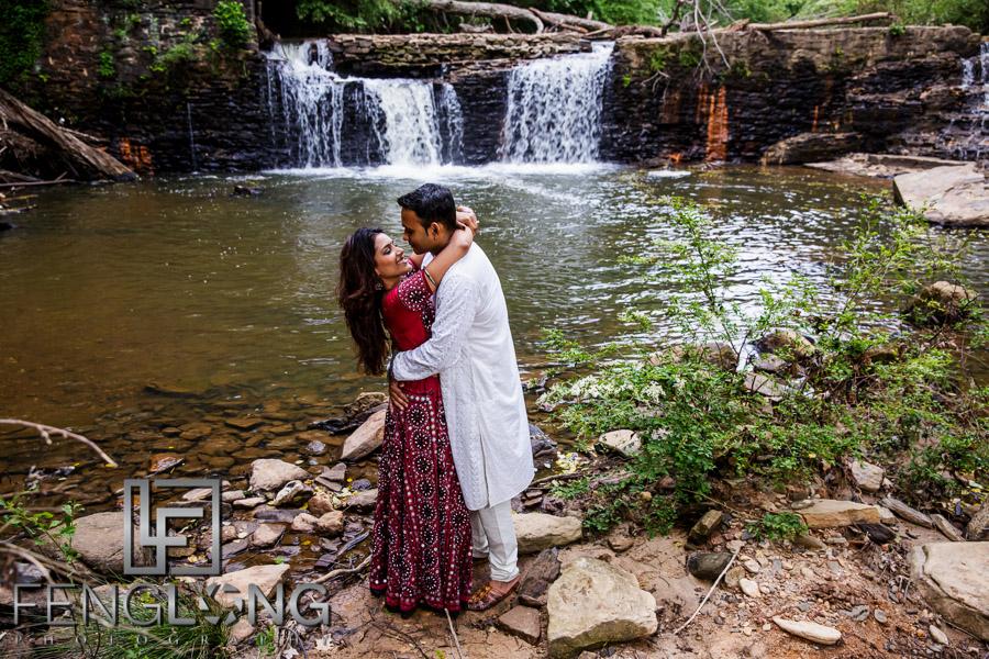 Fun bridal shoot photo at a waterfall