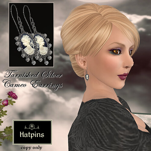 Hatpins - Tarnished Silver Cameo Earrings
