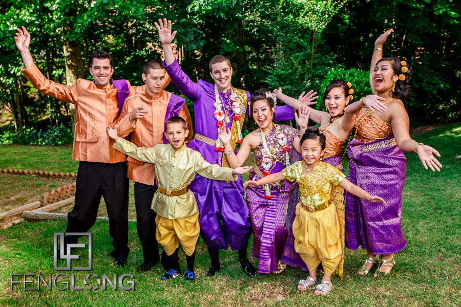 Cambodian Bride and American Groom and wedding party
