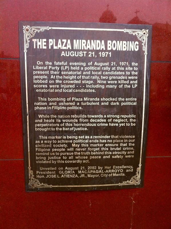 Plaza Miranda Placard