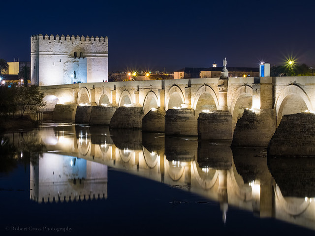 Night falls on the Roman Bridge