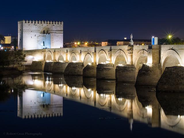 Night falls on the Roman Bridge