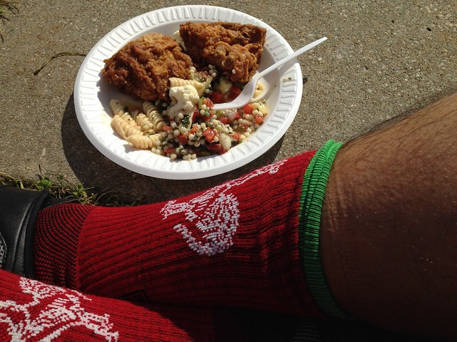 Powered by Fried Chicken and wool Sriracha cycling socks