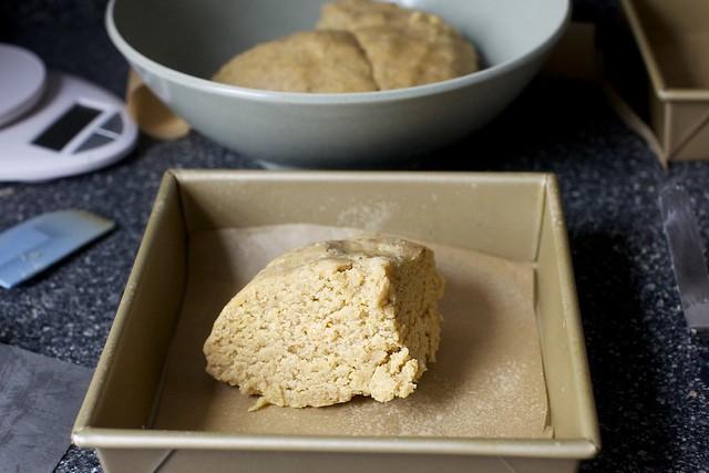 one quarter of the dough per crust