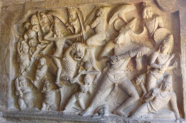 Mahishasurmardini fresco at Mahabalipuram