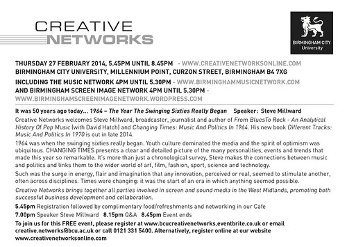 Creative Networks thursday 27th February 2014
