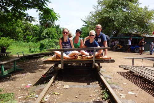 At the starting point: Bamboo Train in Battambang, Cambodia