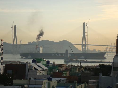 Bukhang Bridge and Busan North Harbor by Jens-Olaf