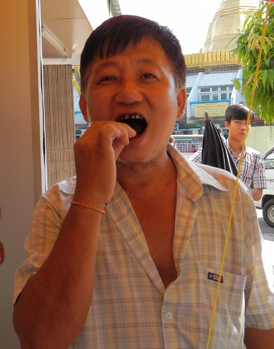 this man demonstrates how to chew properly prepared betel nuts