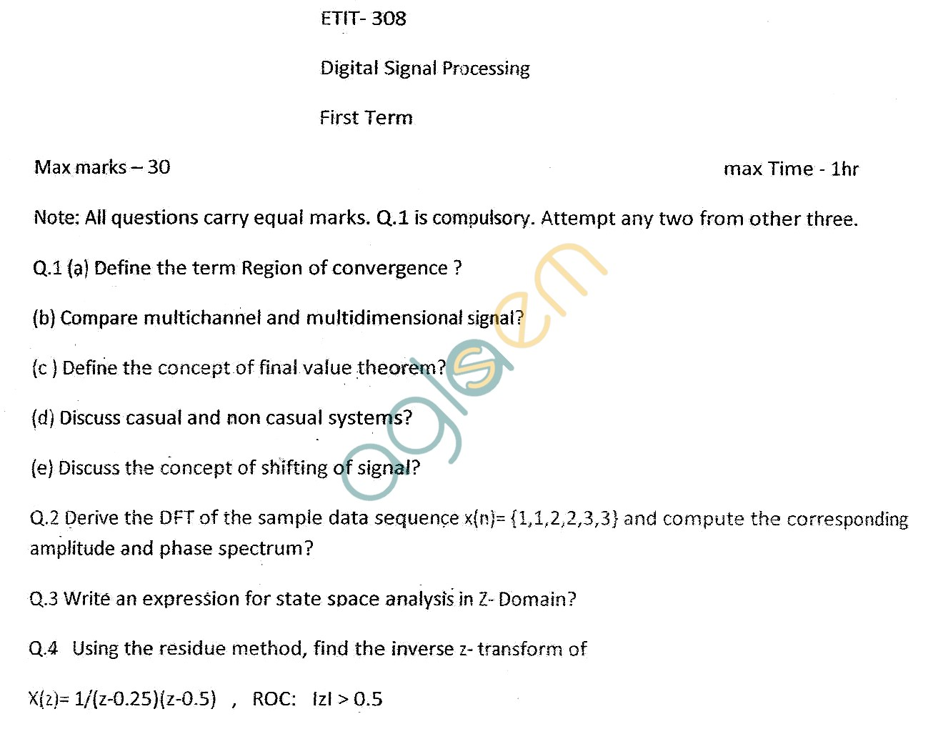 GGSIPU Question Papers Sixth Semester – First Term 2013 – ETIT-308