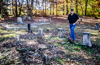 Keith at Great Grandparents Graves