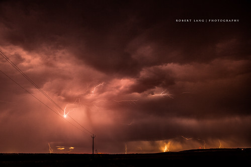 Extreme lightning storm and power line