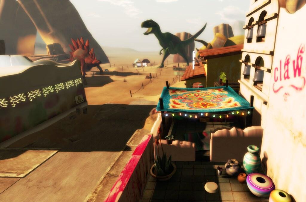 Stores share the sim with a Dinosaur Park