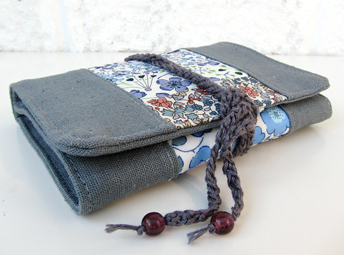 New Liberty and grey linen needle book