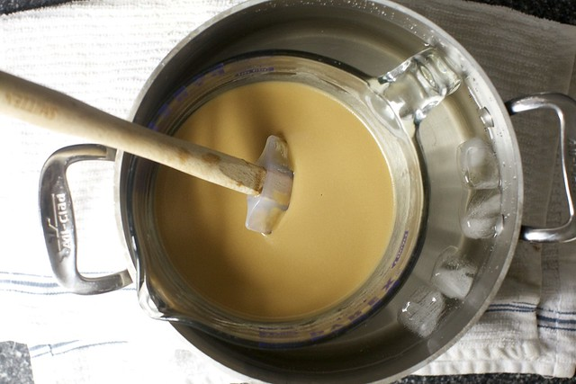 cooling the butterscotch pudding batter