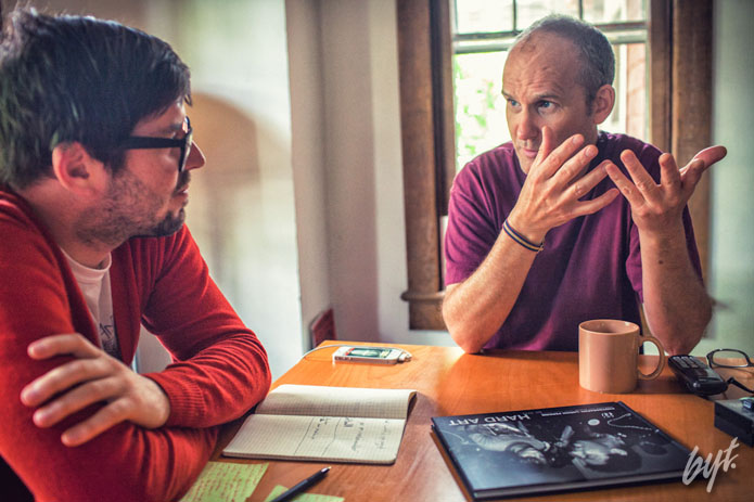 Jeff Jetton interviews Ian MacKaye, former Fugazi frontman, at the Dischord Records house in Arlington, Virginia on May 21, 2013.