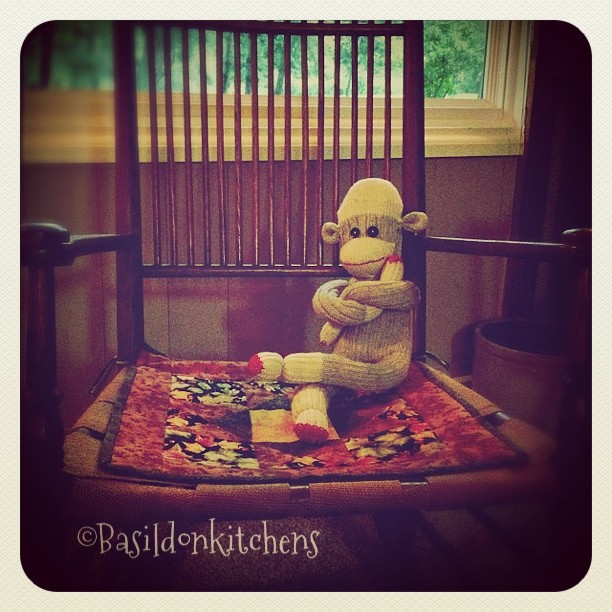 Sep 4 - alone {Mr Sock Monkey sits alone, waiting patiently for my return at the end if the work day} #fmsphotoaday #alone #fun #games #sockmonkey #humor