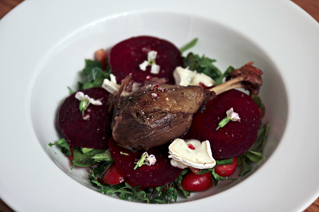 beet salad with canard confit