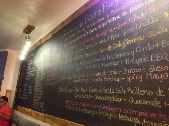 bistro burger menu board