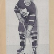 1944-63 NHL Beehive Hockey Photo / Group II - FRANK MATHERS (Defence) (Hall of Fame 1992 / Builder) (b. 29 Mar 1924 - d. 9 Feb 2005 at age 80) - Autographed Hockey Card / Cut (Toronto Maple Leafs) (#428)