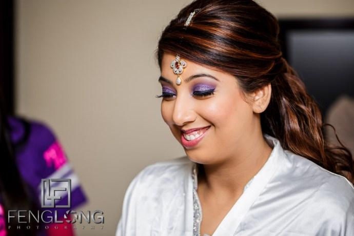 Indian Ismaili bride preparing for reception