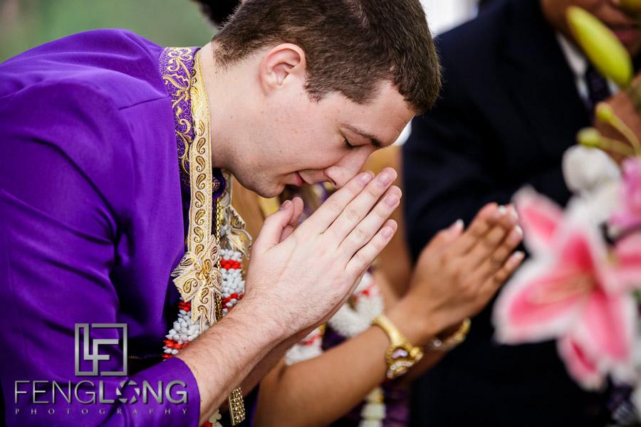 Groom prays