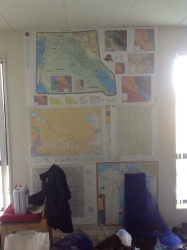 My living room wall includes a military planning map of the Middle East, a national park map from Colorado, a national park map from Idaho/Montana, a 1975 NASA map of Washington D.C and a Michigan map that was the right size the fill the white space.