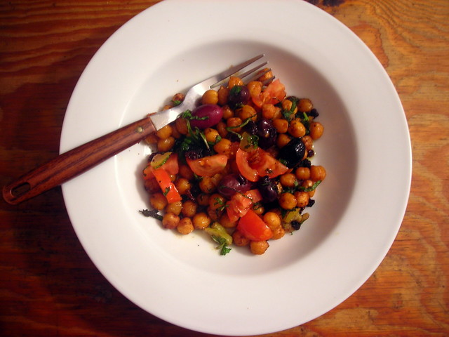 Roasted Rancho Gordo chickpeas, with preserved lemon, olives and mint