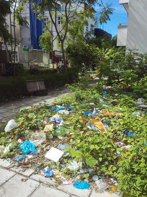Trash in Hulhumale, Maldives