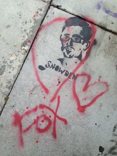 #Snowden love #stencil by Eclair Acuda Bandersnatch #WheresSnowden #Streetart #nsa #wikileaks #graffiti by Steve Rhodes