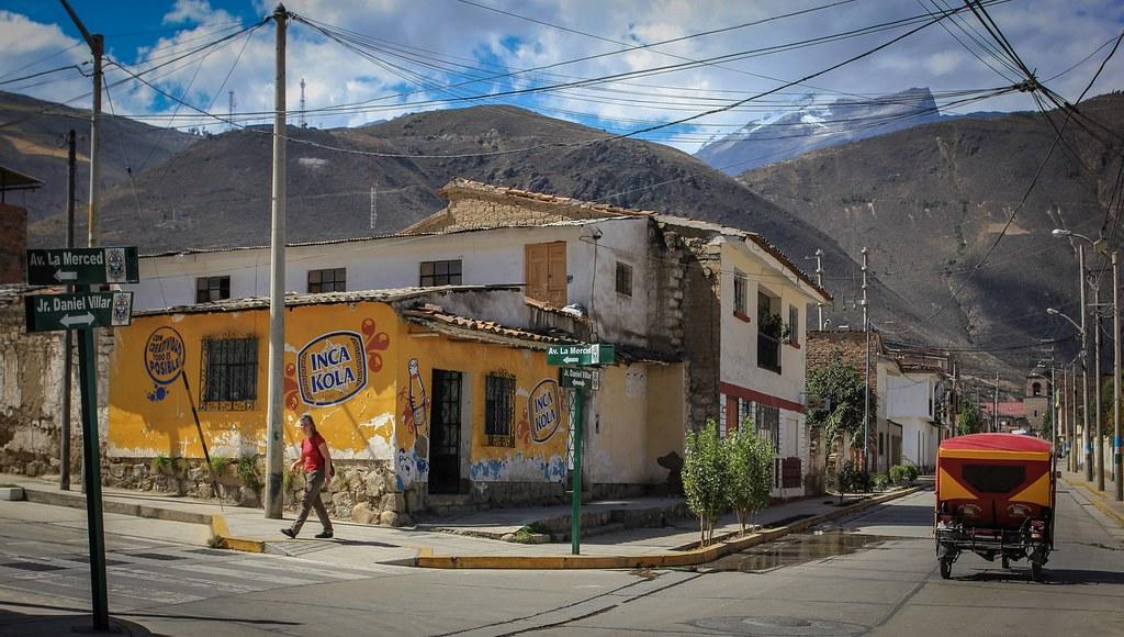 Anyone who traveled in Peru surely tried the Inca Kola. The gummy ball flavored soft drink. Yummie! Caraz. Ancash, Peru.