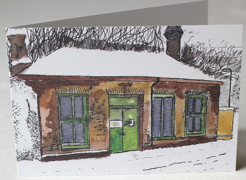 Old Ticket Office, Maze Hill Litho Print Greeting Card