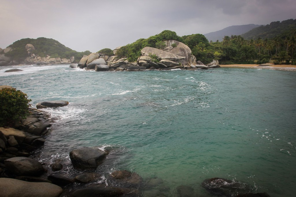 Impressive boulders ramble the wild Carribean coastline. Tayrona National Park. Colombia.