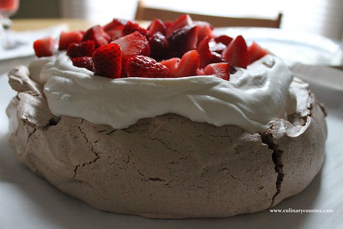 Chocolate Pavlova with Strawberries at www.culinarycousins.com