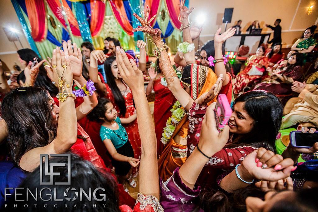 Guests dance during Mehndi night