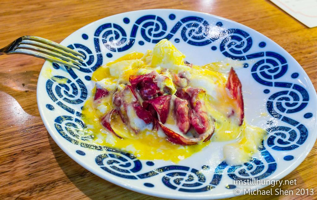 Movida sydney air cured wagyu beef w/truffle foam & poached egg