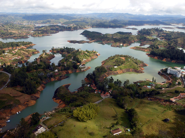View from the top of La Piedra in Guatape, Colombia.
