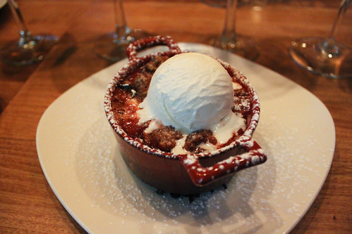 Strawberry Rhubarb Crumble topped with Vanilla Bean Gelato