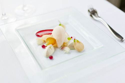 White peach panna cotta with Bellini sorbet 1
