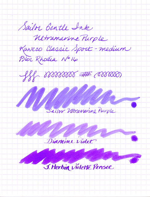 Sailor Ultramarine Purple Written Sample
