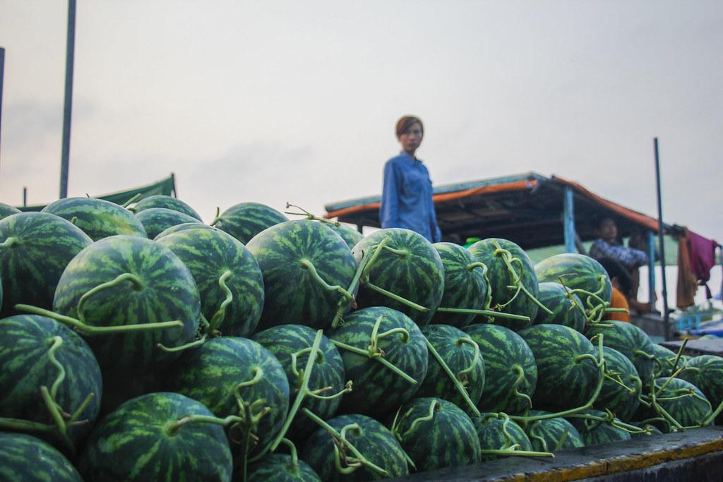 vandmeloner på det flydende marked i Can Tho