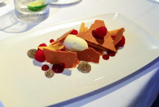 Peach Melba, honey, raspberry, chia seeds, vanilla ice cream, white peach sorbet