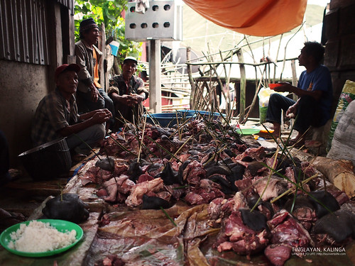 What you see here is carabao meat, segregated into bunches, each one will be given to every family in the tribe