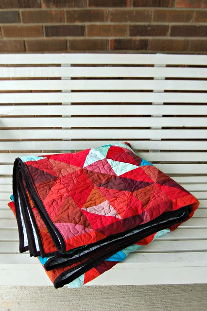 Lava Meets Sea Quilt Black Binding